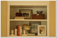 how to accessorize my built in bookcase I am going to build :)