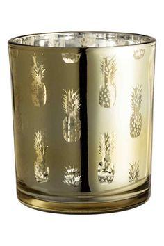 Glass Pineapple tealight holder   H&M Home