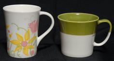 2 Starbucks Mugs 2010 Tazo Zen Sage Bone China 2006 Tall Latte Floral Flower Cup #Starbucks