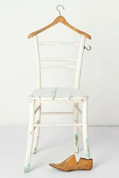 Folk art style chair repurposed into wardrobe closet hook design with wooden han. Folk art style chair repurposed into wardrobe closet hook design with wooden hanger and shoe form; Old Rocking Chairs, Old Chairs, Backyard Canopy, Diy Canopy, Folding Canopy, Ikea Canopy, Canopy Crib, Beach Canopy, Wooden Canopy
