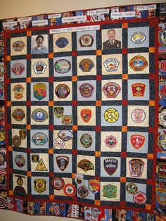 "Nick's ""Fire Patch Collection Quilt, designed, pieced, and quilted by me. yr career as a firefighter, my hubby collected patches from other fire dept. He recently retired as the fire chief of his dept! Fire Dept, Fire Department, Fireman Quilt, Firefighter Family, Police Patches, Patch Quilt, Quilt Blocks, Shirt Quilt, Vintage Disney"