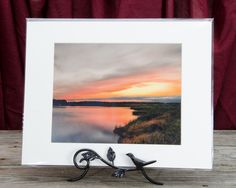 "Ready to Frame 8"" x 10"" Landscape Photograph Sunset Over Woodland Marsh in a 11"" x 14"" Mat Board and Backer *Stand is not included"