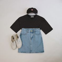 Striped T-shirt, Denim Jeans and White Sneakers, Black Cap.