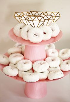 Finished DIY Tiered Cake Stand with Donuts and Diamonds