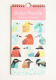 Avian Friends Perpetual Calendar illustrated by Geninne Zlakis