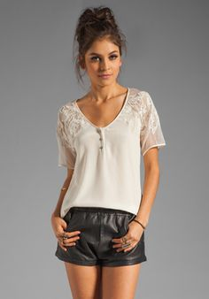 Our Lace Shoulder Henley Top in Ivory at @RevolveClothing - Free Shipping!