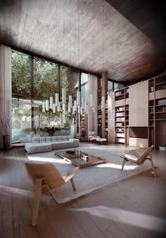 These fabulous renders by Viktor Fretyán showcase a breathtaking forest house, designed by architect Satoshi Okada. Located on the sloping terrain of the Svab Hill, this family residence is home to renowned photographer Tomasz Gudzowatyon. --Budapest