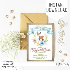 Woodland deer and floral baby shower invitation https://www.etsy.com/listing/555689781/woodland-deer-and-floral-baby-shower