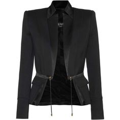 Balmain Silk Satin and Cotton Jacket ($2,480) ❤ liked on Polyvore featuring outerwear, jackets, black, cotton jacket, balmain jacket and balmain