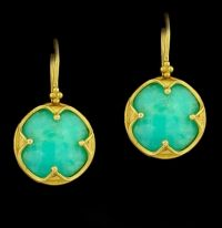 Carolyn Tyler Merrien Chrysoprase and 22k Earrings 12.30 carats of exquisitely matched Chrysoprase are set off by rich 22k yellow Gold