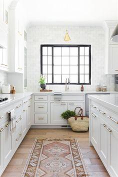 Modern Kitchen Design In White and Brass