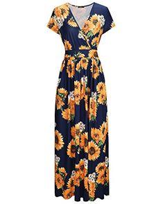 OUGES Women's V-Neck Pattern Pocket Maxi Long Dress at Amazon Women's Clothing store