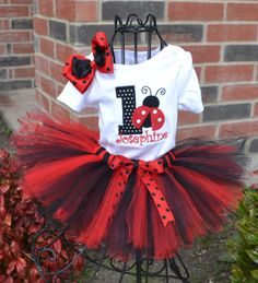 1st birthday ladybug red and black tutu set