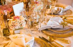 Dining tables featured the Versailles Gold Glass Dinnerware collection by @casadeperrin (Venue: @rclagunaniguel   Planner: @internationaleventco   Florist: @marksgarden   Photographer: @samuellippkestudios  Decor/Favors: @budsnbloomsla   Table Top Rentals: @casadeperrin   Band: Voodoo Lounge for @westcoastmusicbevhills   Sound Production: @design.sound   Linens/Chair Covers: @wildflowerlinen)