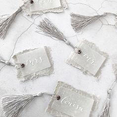 Luxury wedding place setting tags with hand written white calligraphy on vellum, handmade grey paper, an antique copper eyelet and a grey tassel for a wedding in Provence Tie The Knot Wedding, Star Wedding, Trendy Wedding, Wedding White, Formal Wedding, Wedding Dress, Beach Wedding Invitations, Diy Invitations, Wedding Stationary