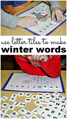 A preschool winter activity that focuses on literacy. Hands-on learning as children make winter words with letter tiles. Free printable included.