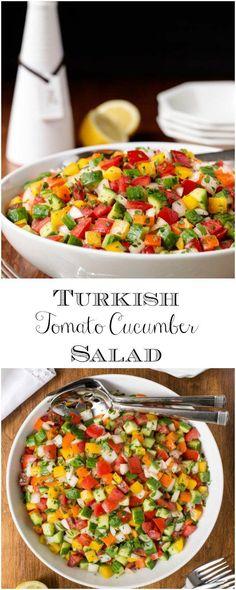 This Turkish Tomato Cucumber Salad has a short ingredient list but always gets a long list of rave r Beef Recipes, Salad Recipes, Vegetarian Recipes, Cooking Recipes, Healthy Recipes, Healthy Food, Mozzarella, Turkish Salad, Quinoa