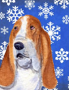 Basset Hound Winter Snowflakes Holiday Flag Garden Size