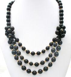 Vintage Black & Gold Bead Statement Necklace 24 In