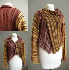 Worked from side to side, this cardigan is knit with two different sized needles and two different yarn weights. This creates transparent and nontransparent stripes. Sizes are petite to XL. Available as a PDF $7.50