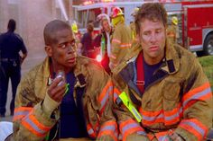 psych firefighter episode fist bump | That's clearly the frozen yogurt guy.