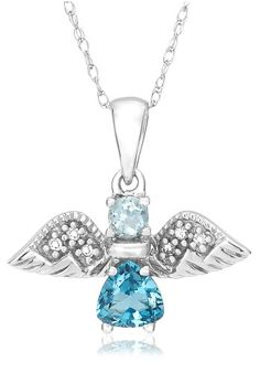 10K White Gold Swiss and Sky Blue Topaz Angel Pendant with D $127