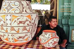 Beautiful pottery at the Santa Fe Indian Market.