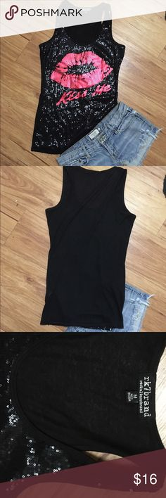 💋Sexy new kiss tank top black sequin 💋 Nwot sexy sequin tank! Can be worn dressy or relaxed with jeans 💋 fits medium Tops Tank Tops
