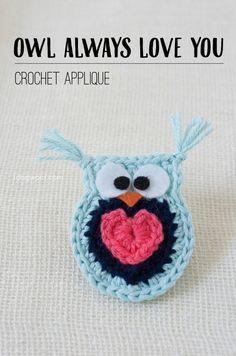 'Owl Always Love You' #crochet owl applique free pattern www.1dogwoof.com