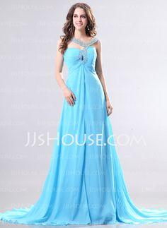 Evening Dresses - $126.99 - A-Line/Princess V-neck Sweep Train Chiffon Evening Dress With Beading (017014268) http://jjshouse.com/A-Line-Princess-V-Neck-Sweep-Train-Chiffon-Evening-Dress-With-Beading-017014268-g14268