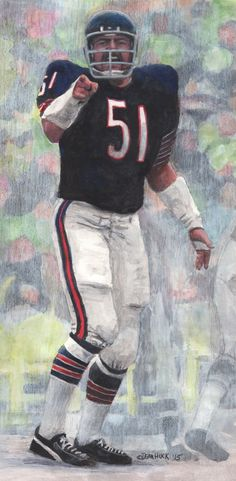 Original mixed media of former Chicago Bear player Dick Butkus was painted by Las Vegas artist Dean Huck.