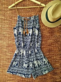 Playsuit Romper Elephants print Boho Jumpsuit by TribalSpiritShop