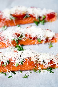 Baked salmon with basil, tomatoes and Parmesan Cheese