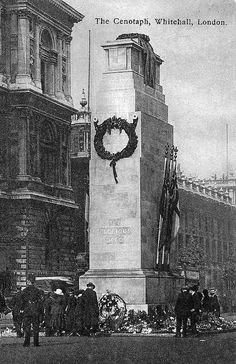 This is a photograph of the wood and plaster Cenotaph which was erected in a very short time in July 1919 to be ready for Peace day, 19th July 1919. It was designed by Lutyens and the permanent stone Cenotaph was erected in time for 11th November 1919 and the armistice day observance.