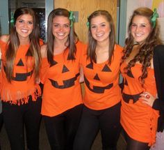Group Costumes | Easy pumpkin, green bow