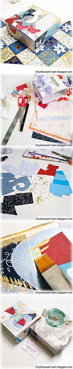 How to make a recycled gift box. Click for step-by-step instructions.  http://etsyrussianteam.blogspot.com/2013/01/how-to-make-recycled-gift-box.html
