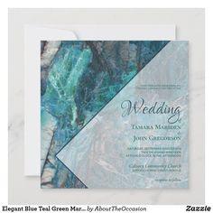 Elegant Blue Teal Green Marble Geometric Wedding Invitation Teal Wedding Invitations, Four O Clock, Teal Green, Blue, Geometric Wedding, Green Marble, White Envelopes, Paper Texture, Smudging