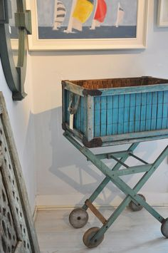 """""""Blue Bread Basket on Stand"""" from Coastal Vintage Home & Garden in Nantucket, MA"""