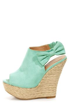 "Wild Diva Lounge Kendall 17 Mint Peep Toe Clog Platform Wedges. Yes please. Only in ""mint"" of course:)"