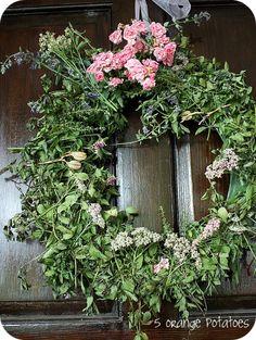 "herb ""feel better"" wreath from 5orangepotatoes.com"