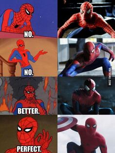 In my opinion, Toby Maguire's spiderman couldn't really be taken seriously, Andrew Garfield's wasn't relatable enough, but Tom Holland.best spiderman ever. - Visit to grab an amazing super hero shirt now on sale! Avengers Memes, Marvel Memes, Marvel Dc Comics, Marvel Avengers, Ms Marvel, Captain Marvel, All Spiderman, Spiderman Costume, Amazing Spiderman