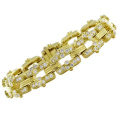 Judith Ripka Diamond Bracelet | From a unique collection of vintage link bracelets at https://www.1stdibs.com/jewelry/bracelets/link-bracelets/