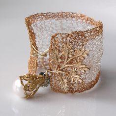 Wire Crochet Cuff - Silver and Gold