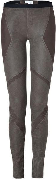 Olive Lamb Skin Patchwork Leggings
