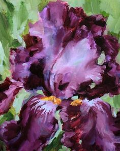 Purple Obsession Iris, painting by artist Nancy Medina