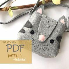 Diy Purse Patterns, Pdf Sewing Patterns, Felt Patterns Free, Kids Purse, Cat Purse, Bear Felt, Animal Bag, Pouch Pattern, Diy Handbag