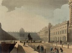 1810 Courtyard of Somerset House, London. Engraving published as Plate 73 of Microcosm of London (1810) By Thomas Rowlandson (1756–1827) and Augustus Charles Pugin (1762–1832) (after) John Bluck (fl. 1791–1819), Joseph Constantine Stadler (fl. 1780–1812), Thomas Sutherland (1785–1838), J. Hill, and Harraden (aquatint engravers. commons.wikimedia.org (PD-ART) ©suzilove.com