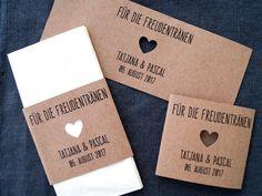 """Gastgeschenke - 10 Banderolen für """"Freudentränen""""-Taschentücher - ein Designerstück von FlitterBOOK bei DaWanda"""