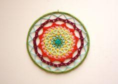 Rainbow Crochet Mandala - Fiber Wall Art - Mandala Art