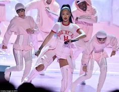 Stunner: Not to be Rihanna opened up the award show with the first of four…
